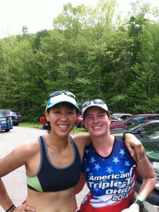 PT and I in transition getting ready for race #3.  I was tired and ready to get the show on the road.