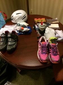Bike and Run Bag Gear laid out again in hotel