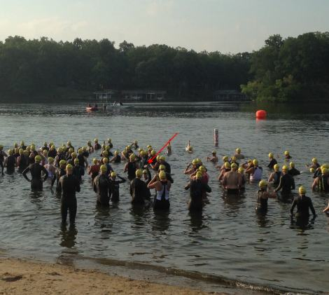 I managed to wave at JMR before starting the swim (the person under the red arrow)