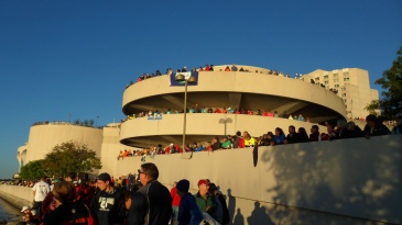 The three story parking garage, aka, 'helix' I had to run up to get to T1.