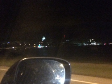 Heading to downtown Madison, you can see the capitol all lit up, granted it looks tiny so far away.