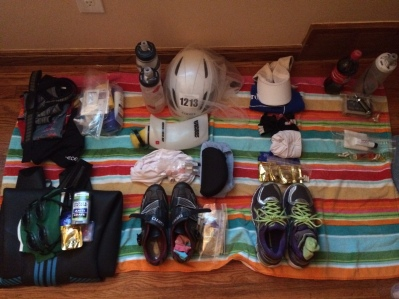 My usual pre-packing photo of everything laid out swim, bike, run and special needs, so I can refer to it every time I freak out thinking I forgot to pack something.